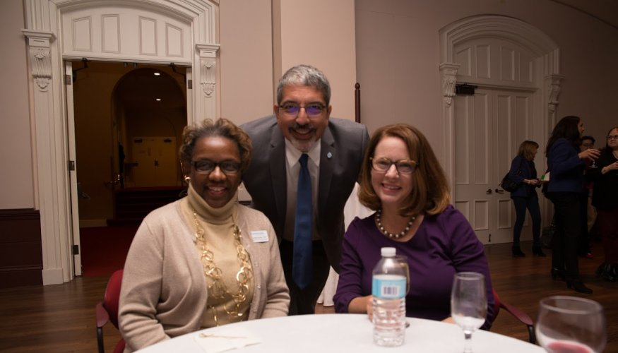 From left: QCC Executive Director of Advancement Karen Ruck, QCC President Dr. Luis Pedraja and his wife, Leigh Woodruff.