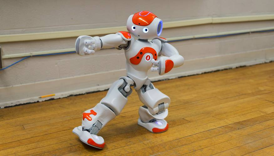 The NAO robot shows off its dance moves.