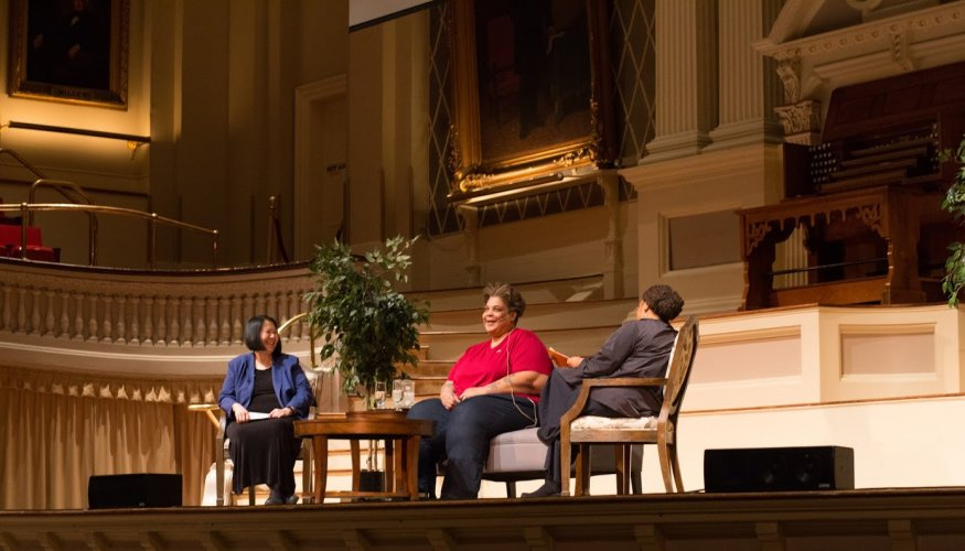 Roxane Gay share a laugh with Professor Margaret Wong (left) and Associate Professor Nicole Payen.