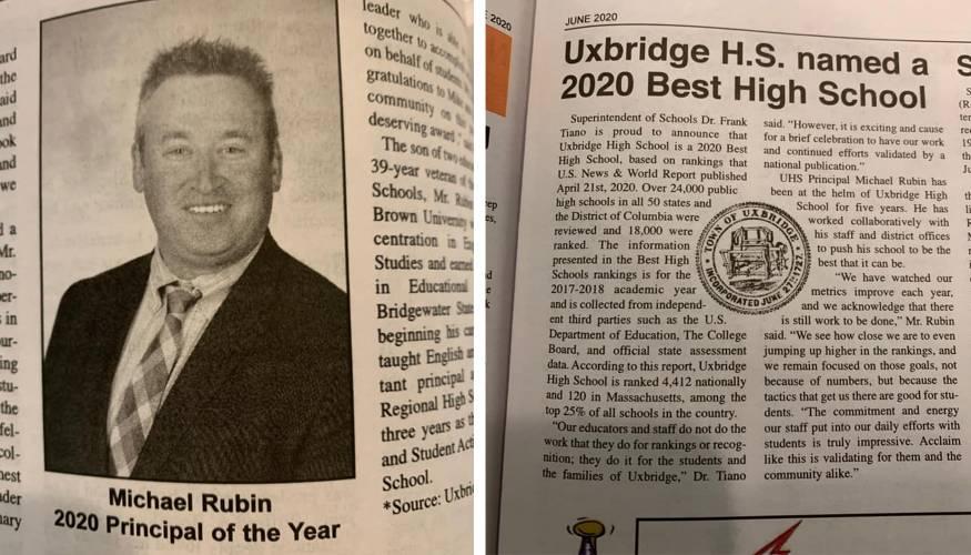 Uxbridge High School Principal Mike Rubun was named High School Principal of the Year.