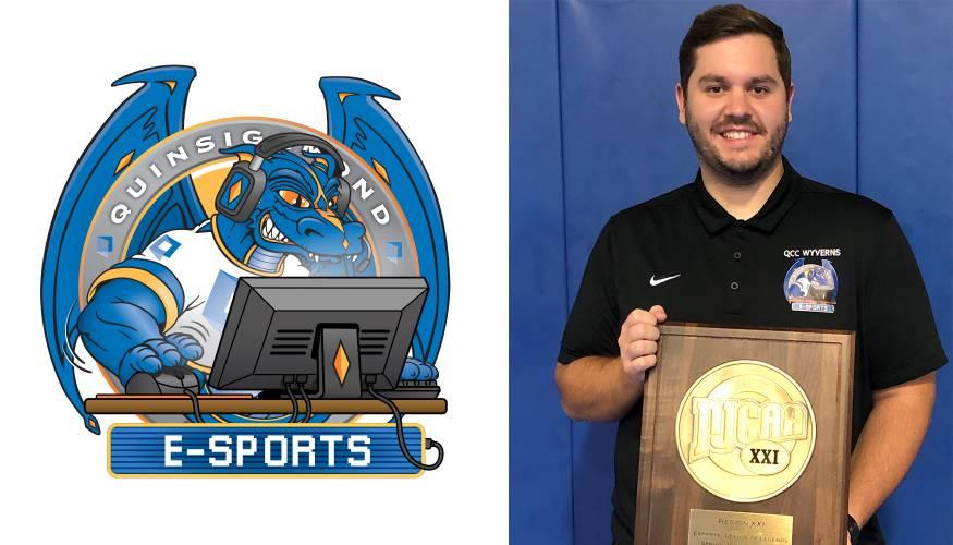 "QCC's E-Sports Coach Nathaniel ""Nate"" Mello holds the winning 2021 E-Sports plaque."