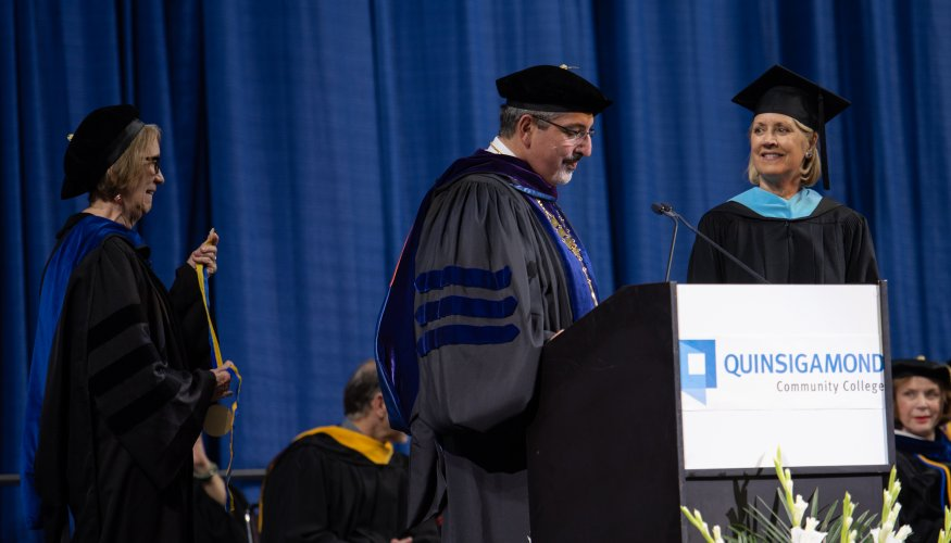 President Luis Pedraja bestows the honor of Professor Emerita to retiring Radiologic Technology Professor Linda LeFave.