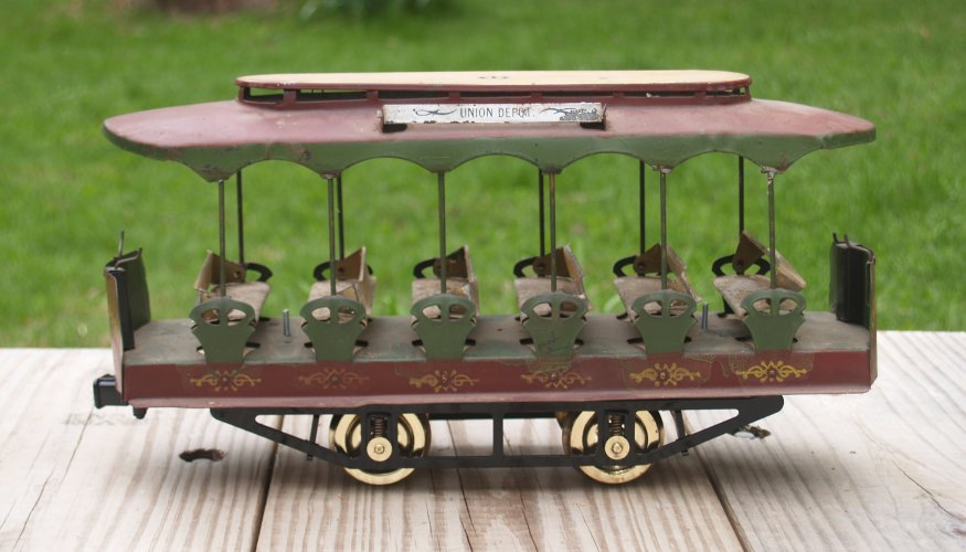 The turn of the century trolley with its new wheels.