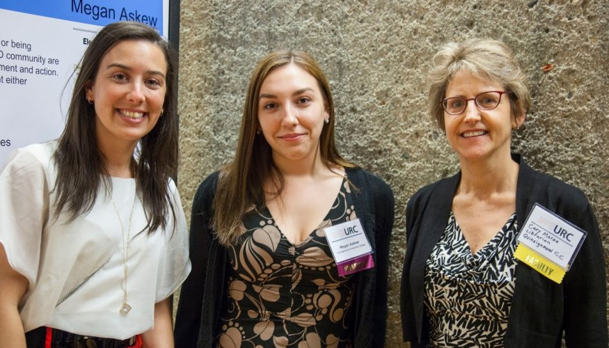 From left: QCC honors student presenters Stephanie Teixeira, Megan Askew and QCC Librarian Carolyn Morse.