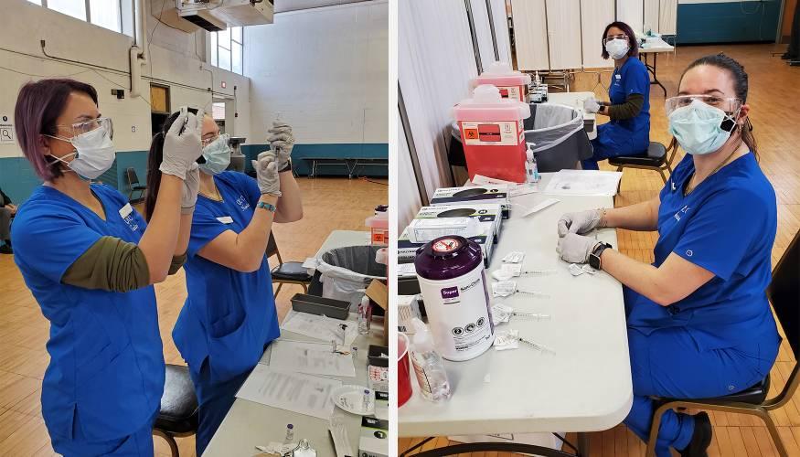 Practical nursing students prepare COVID-19 vaccines.