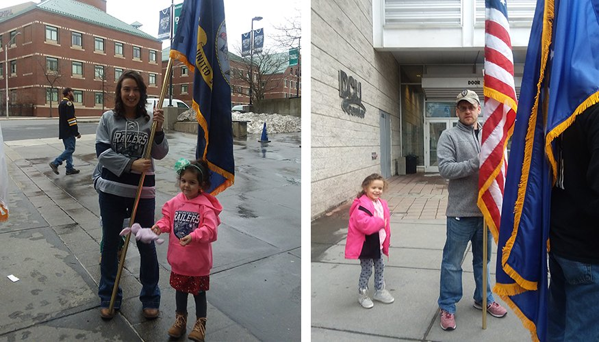 From left: QCC student and veteran Stephanie Teixeira Collins with her daughter Olivia and QCC student and veteran Tyler Russell and his daughter Marley.