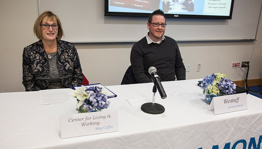 Meg Coffin from the Center for Living and Working and Jonathan Simms from Westaff