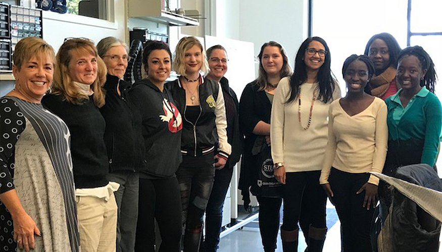 "QCC students in the ""Women in STEM"" group recently toured the Fab Lab with Professors Grimaldo and Sorraco."