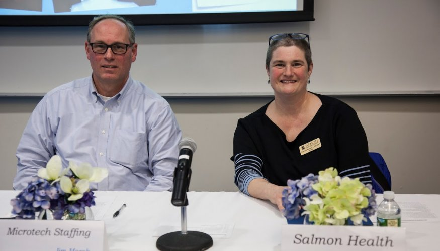 Jim Marsh from Mircotech Staffing and Lisa Pontbriand from Salmon Health.
