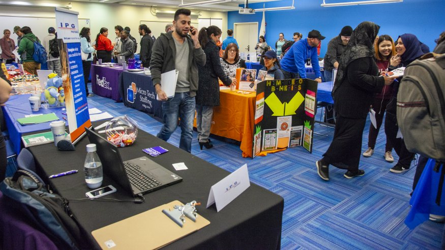 The QCC Job Fair drew many students looking for employment opportunities