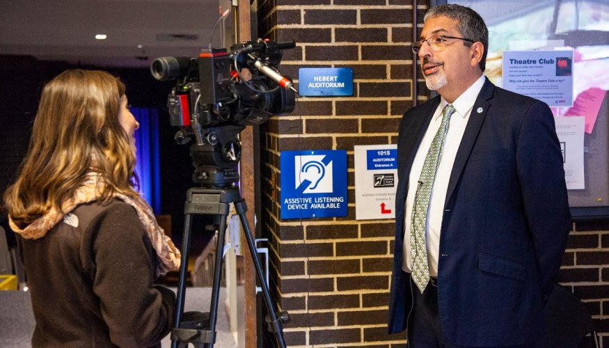 QCC President Dr. Luis Pedraja discusses his journey as an immigrant in an interview for Worcester News Tonight.