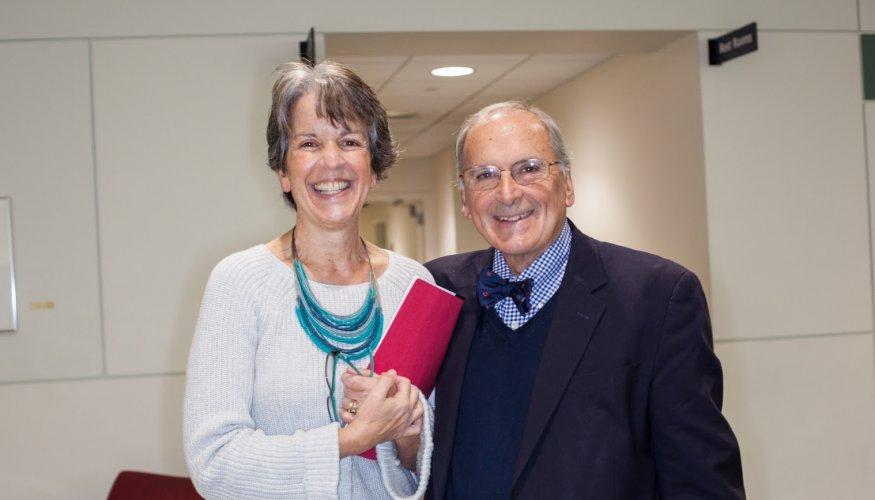 "Dean Kathy Rentsch and QCC Board President Maurice ""Moe"" Boisvert."
