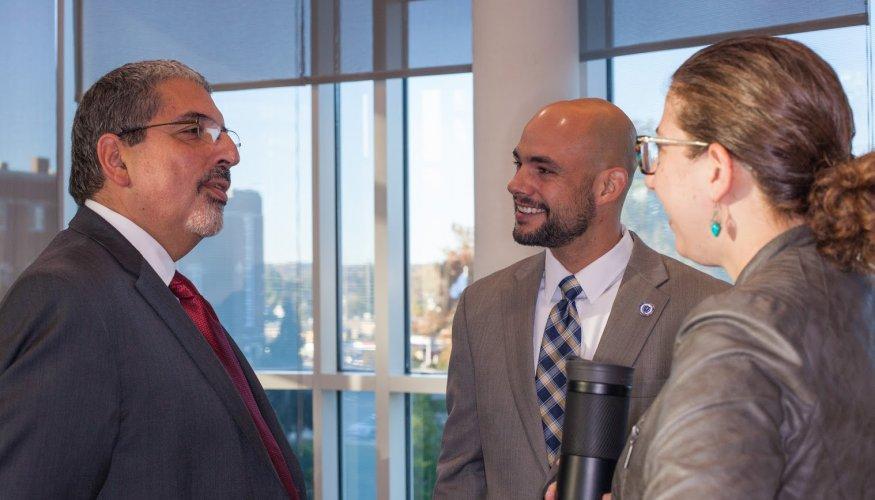 Dr. Pedraja discusses new funding strategies with area legislators.
