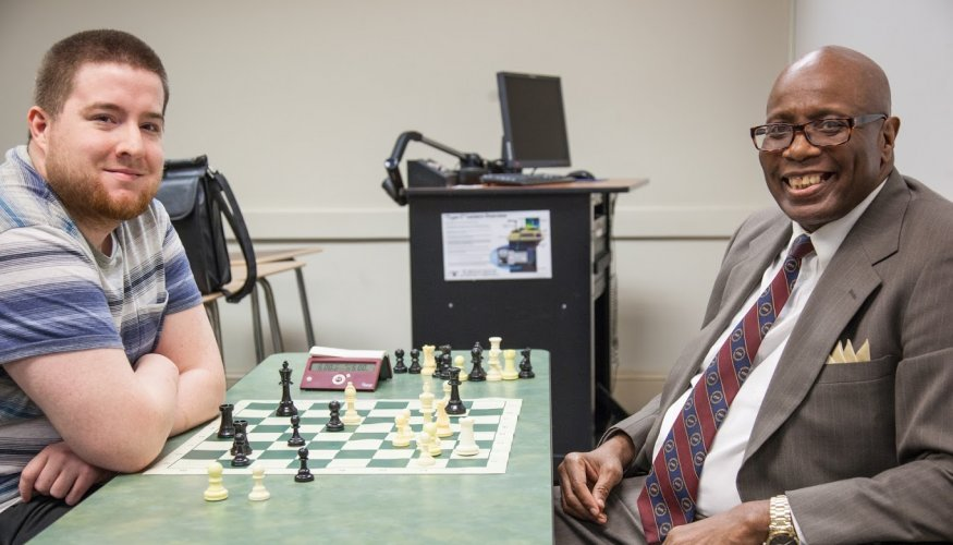 From left: Vice President of the Chess Club, QCC student Michael Imse and Chess Club Advisor Jerry Williams.