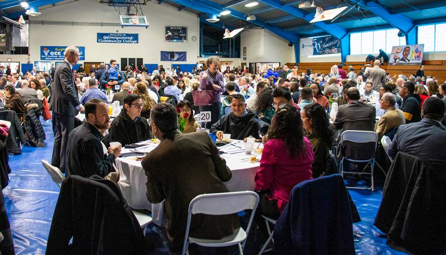 QCC's Athletic Center was packed full for the 35th Annual MLK Community Breakfast.