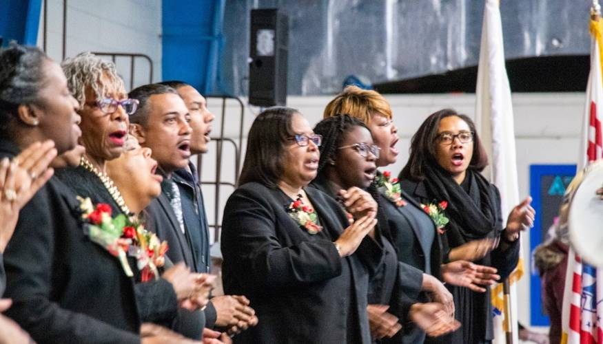 Motivational music was prevelant at the MLK Community Breakfast held at QCC.