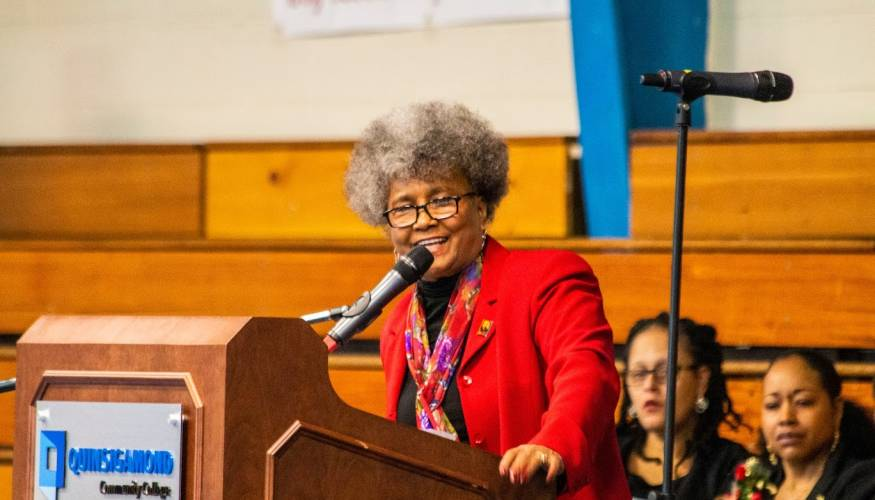 Sharon Henderson delivers a forceful message of inclusion at the MLK Community Breakfast.
