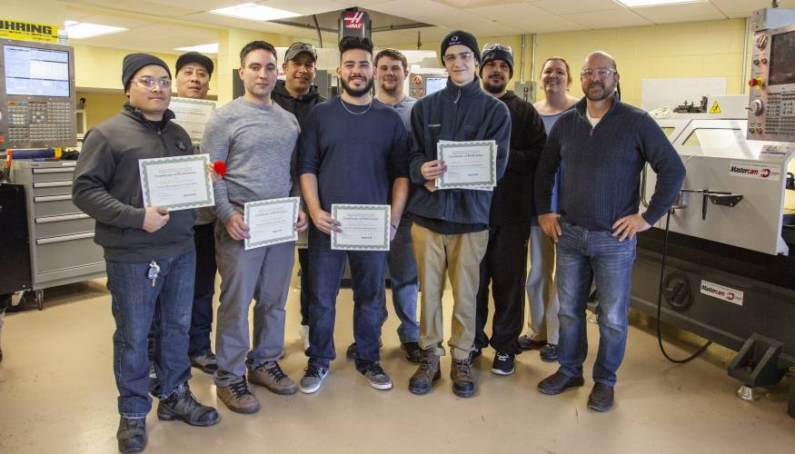Students in Assistant Professor Lee Duerden's (far right) classes who received either MACWIC Level 1 or Level 2 Certifications.