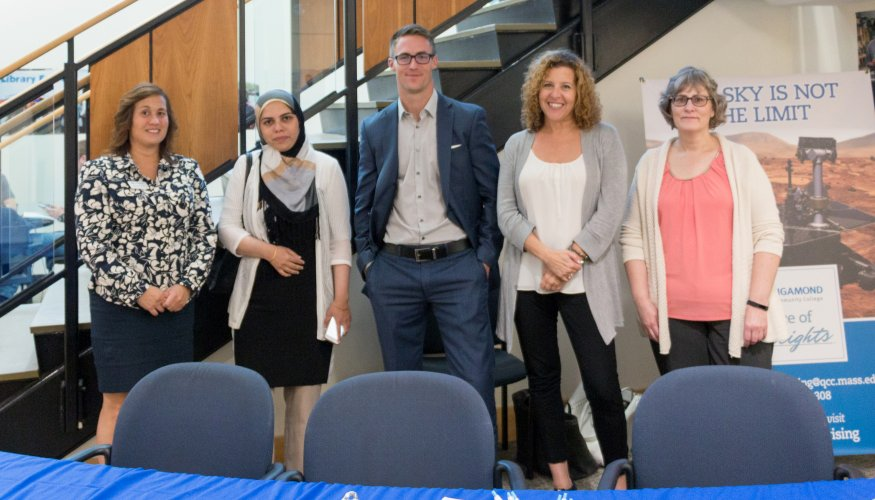 PHOTO:  Diana Boudreau (QCC-Career Placement), Thyaeba Abdul Rasheed (QCC student-Randstad, Rating Specialist), Patrick Watson (Randstad, Associate Program Manager), Robin Forster Babst (Hanover, Sr. Rating Specialist), Lynette Regis-Tracy (Hanover, Manager, CL Service Operations).