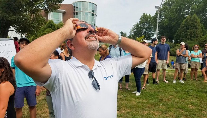 QCC President Dr. Luis G. Pedraja got a great view of the partial solar eclipse.