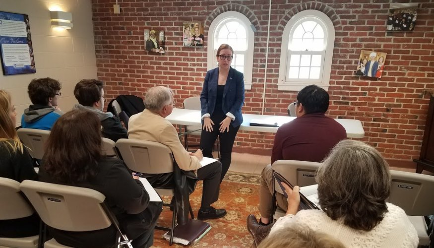 Staff Attorney Alexandra Bonazoli, of the Central West Justice Center discussed recent immigration changes with the QCC students, faculty and staff.