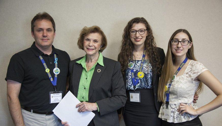 From left: Tony Sanders, Senator Harriette Chandler, PTK President Maia Shalev and PTK Vice President of Leadership, Nicole Bodinizzo.