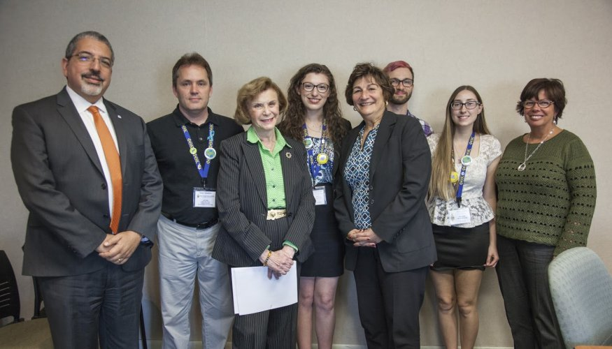 Dr. Luis Pedraja, Senator Harriette Chandler and Worcester Commissioner of Health & Human Services, Dr. Matilde Castiel, joined PTK student leaders to discuss their honors action project.