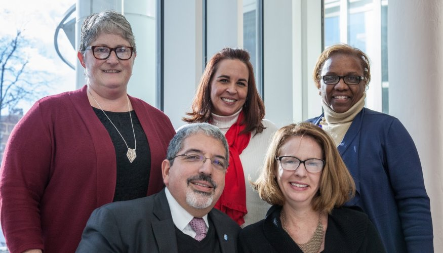 From left (bottom row): Dr. Luis Pedraja and his wife, Leigh Woodruff. From left (top row): Lucinda Costa, Selena Boria and Karen Rucks.