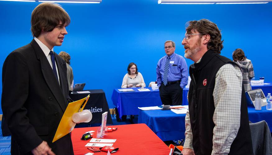 QCC students drop off their resumes to companies at the college's annual Spring job Fair