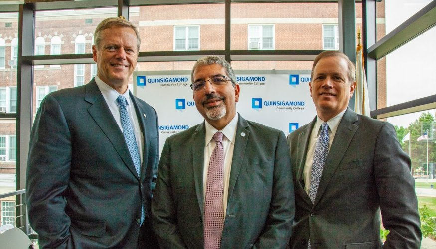 From left: Governor Charlie Baker, QCC President Luis Pedraja and Secretary of Education James Peyser