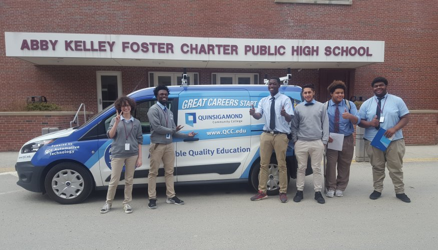 The QCC Wyvernmobile recently visited Abbey Kelly Foster Charter Public High School.