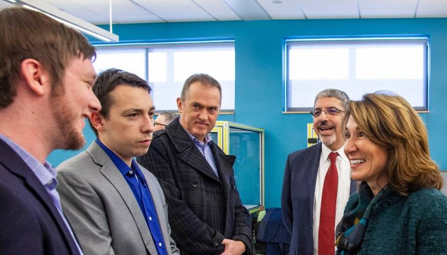 QCC alumni discuss the manufacturing programs they were in at QCC with Lt. Gov. Polito.
