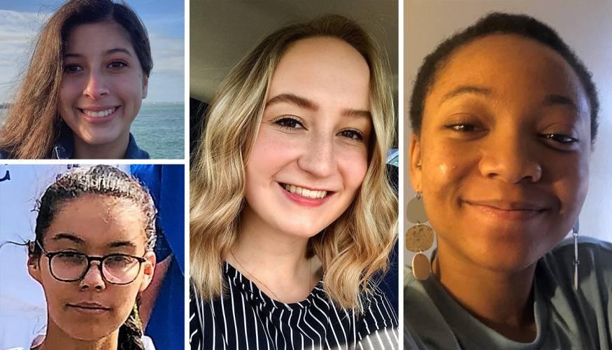Women's Soccer student athlete winners from left (top): Fran DeMora, Ashely Jerome, Haley Gordon and Veronica Morson.