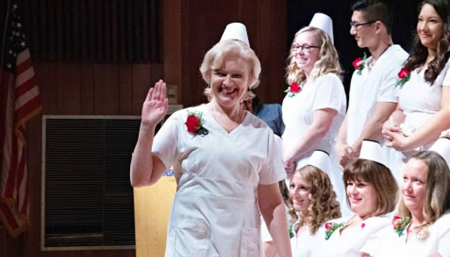Alena Kuzniatsova is all smiles at the Nurse Education day program pinning ceremony.