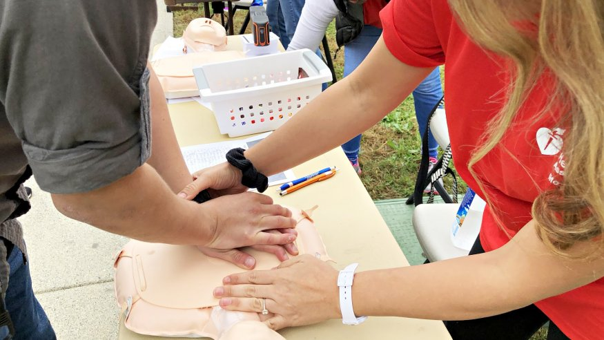 """When performing Hands-Only CPR use the rhythm of the song """"Staying Alive"""" for the chest compressions."""