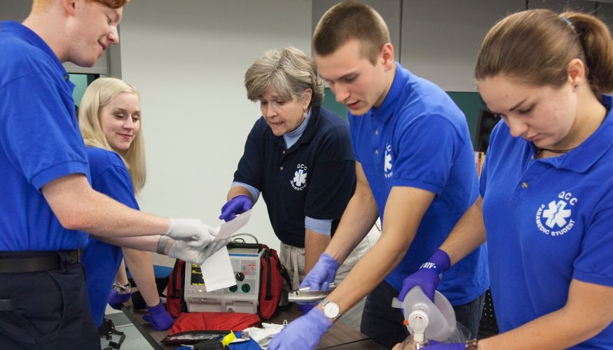 QCC paramedic students simulate medical situations.