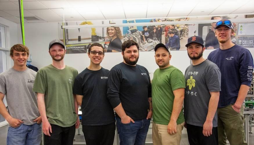 From left: Nathan Delaney, Nolan Pond, Joseph Hallihan, Daniel Boudreau, Matthew Kelley, Frank Dumas, Garrett Cassavant