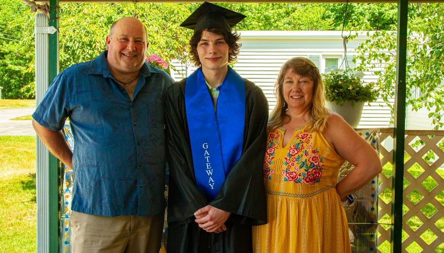 Gateway graduate Joe Poirier with his proud parents.