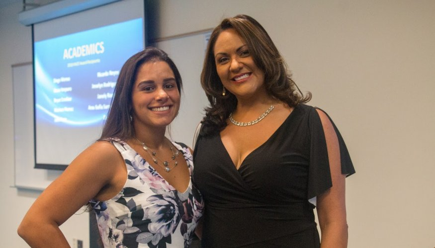 Master of Ceremonies Future Focus Program Gilmarie Vongphakdy with Director of Community Bridges Deborah Gonzales