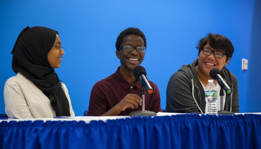 Worcester high school students discuss the Early College program.