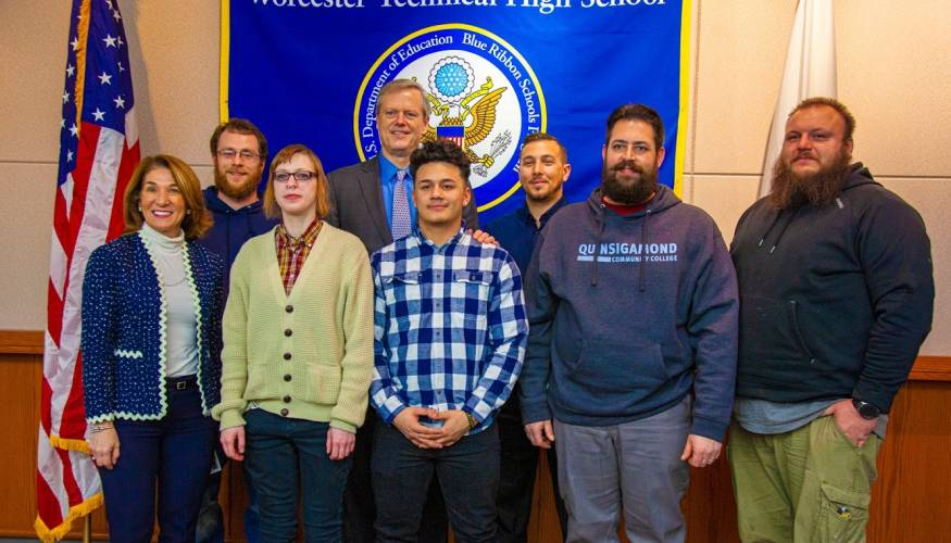 Governor Baker and Lt. Governor Polito with students from QCC's HVAC program and WTHS's plumbing and welding programs.
