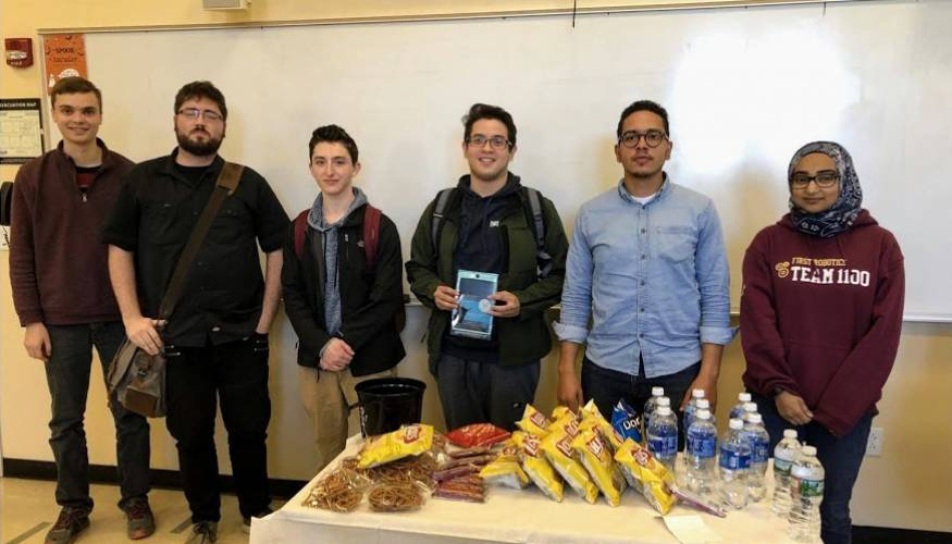 Six of the 17 QCC students competing in the Student Math League National Competition.
