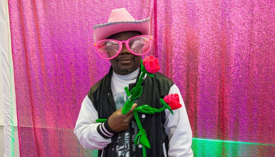 QCC Student Charles Fordjour is ready for Valentine's Day.