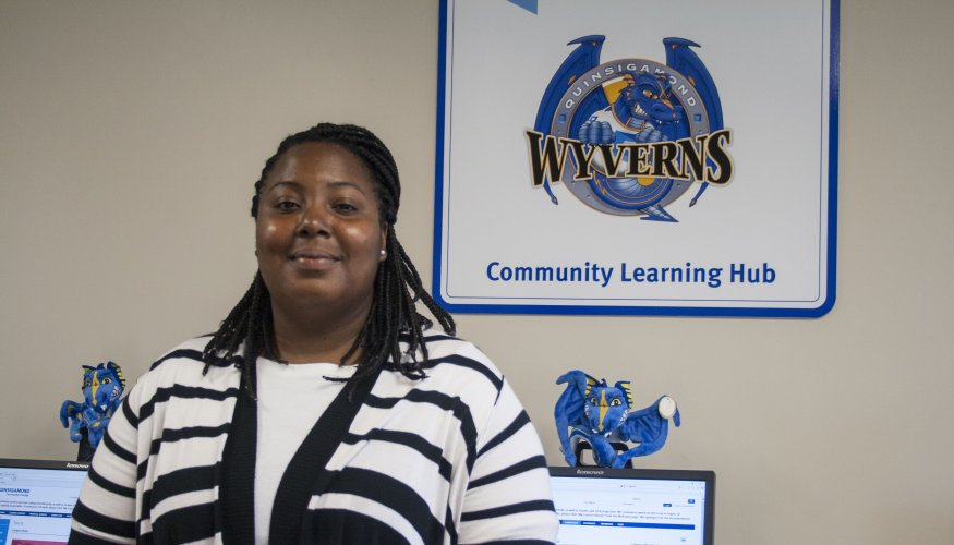QCC recent graduate and GBV resident Candria Gray stopped by to check out the Community Learning Hub.
