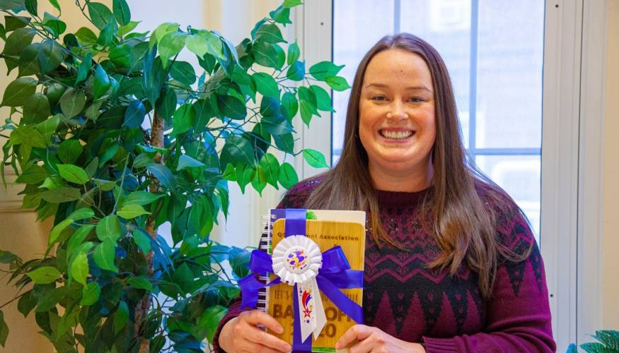 QCC Financial Aid Counselor, Kirstie Leonard, won third place in the Bake-Off contest at QCC's West Boylston campus.