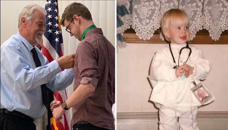 Left:Jarrod Jansson is pinned by his dad Jeffrey Janson. Right: Jarrod Jansson wanted to be a respiratory therapist just like