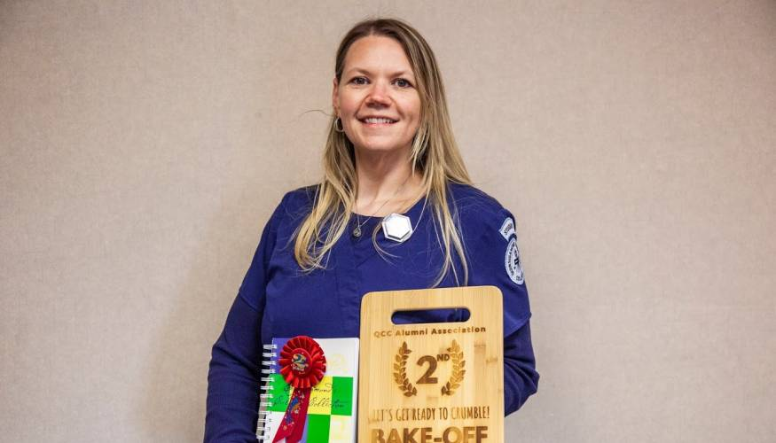 QCC Rad Tech student, Jennifer Mangrum, took home second prize at the college's main campus contest.