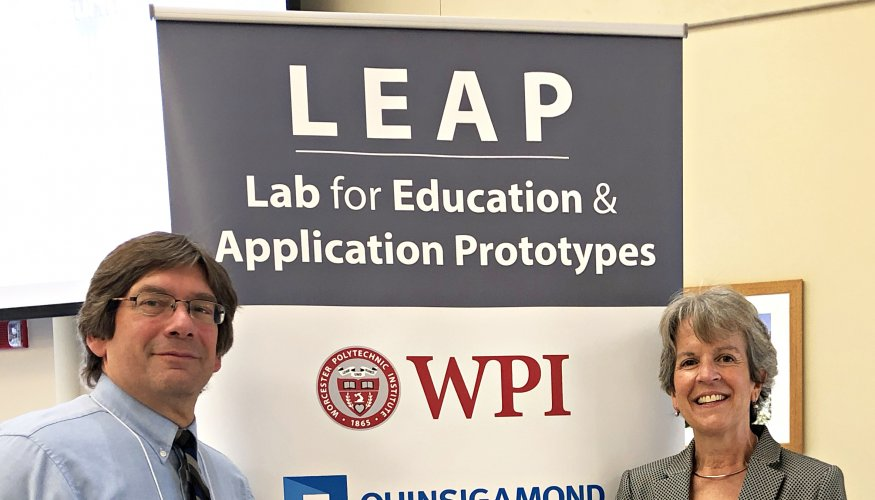 Associate Professor of Electronics Engineering Technology Jacob Longacre and QCC Assistant Vice President Kathy Rentsch