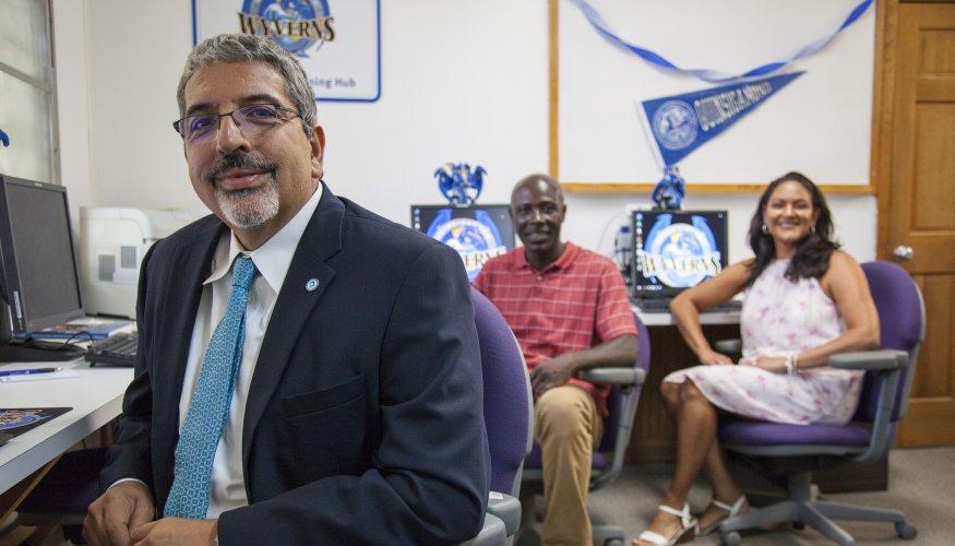 Dr. Luis Pedraja, Student Trustee Benjamin Aryeh and Dr. Deborah Gonzalez.