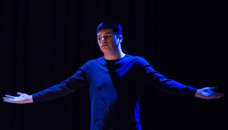 "Liam Doherty as ""Heat"" in the college's recent production."